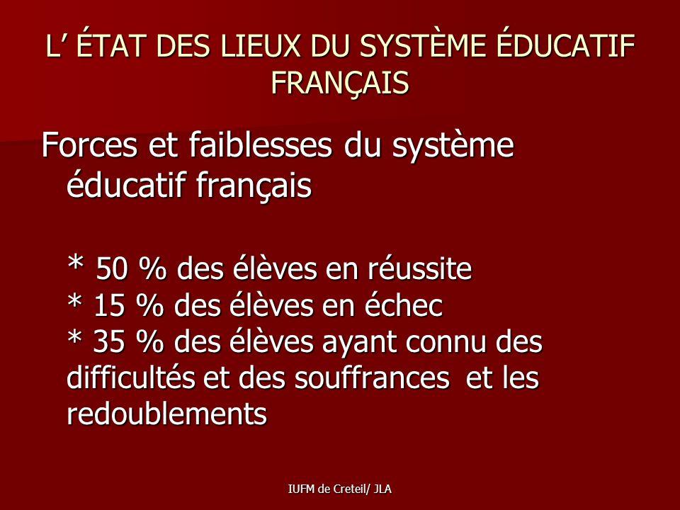 L' ÉTAT DES LIEUX DU SYSTÈME ÉDUCATIF FRANÇAIS