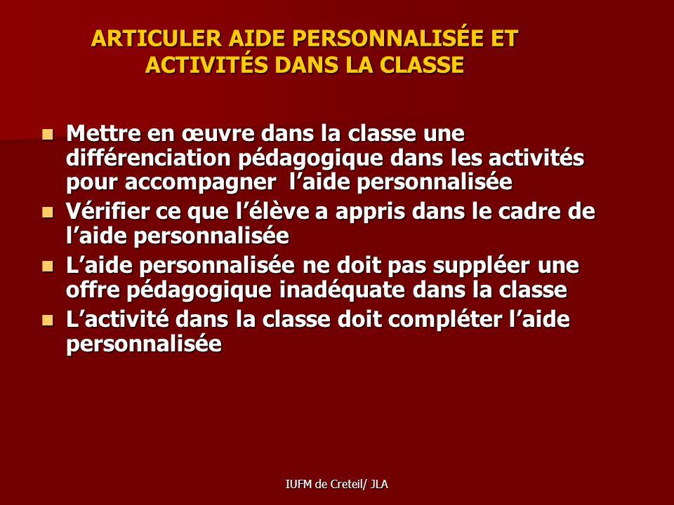 ARTICULER AIDE PERSONNALISÉE ET ACTIVITÉS DANS LA CLASSE