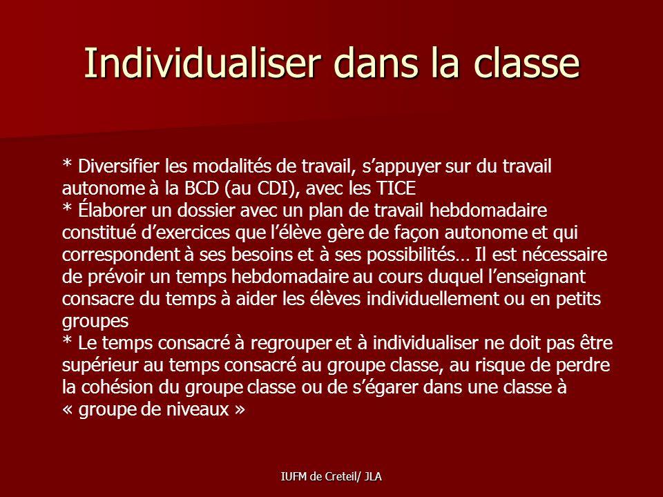 Individualiser dans la classe