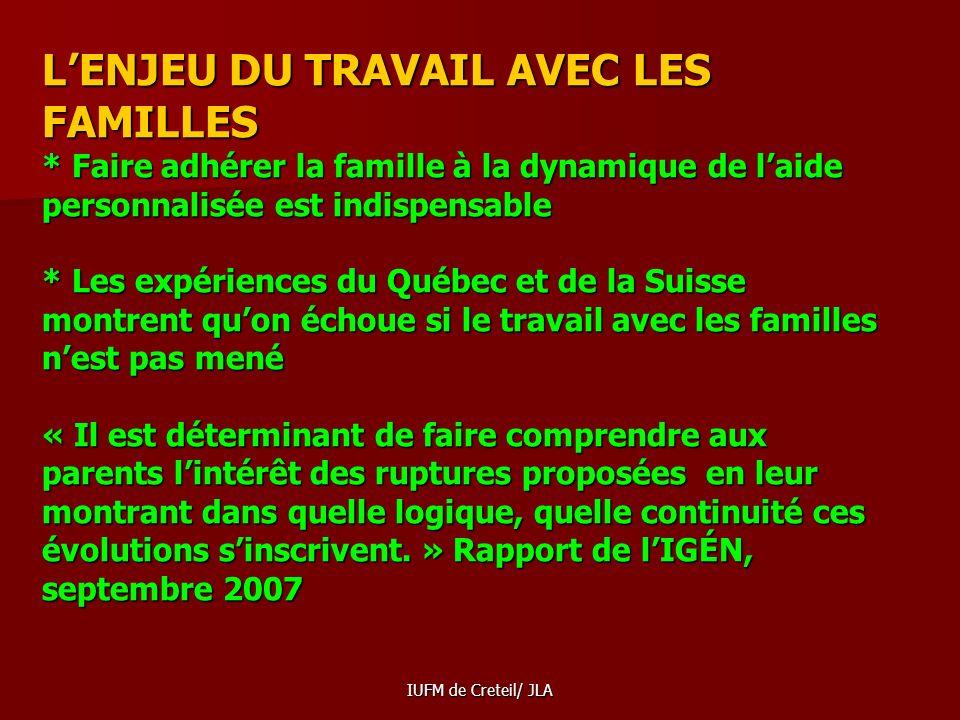 L'ENJEU DU TRAVAIL AVEC LES FAMILLES