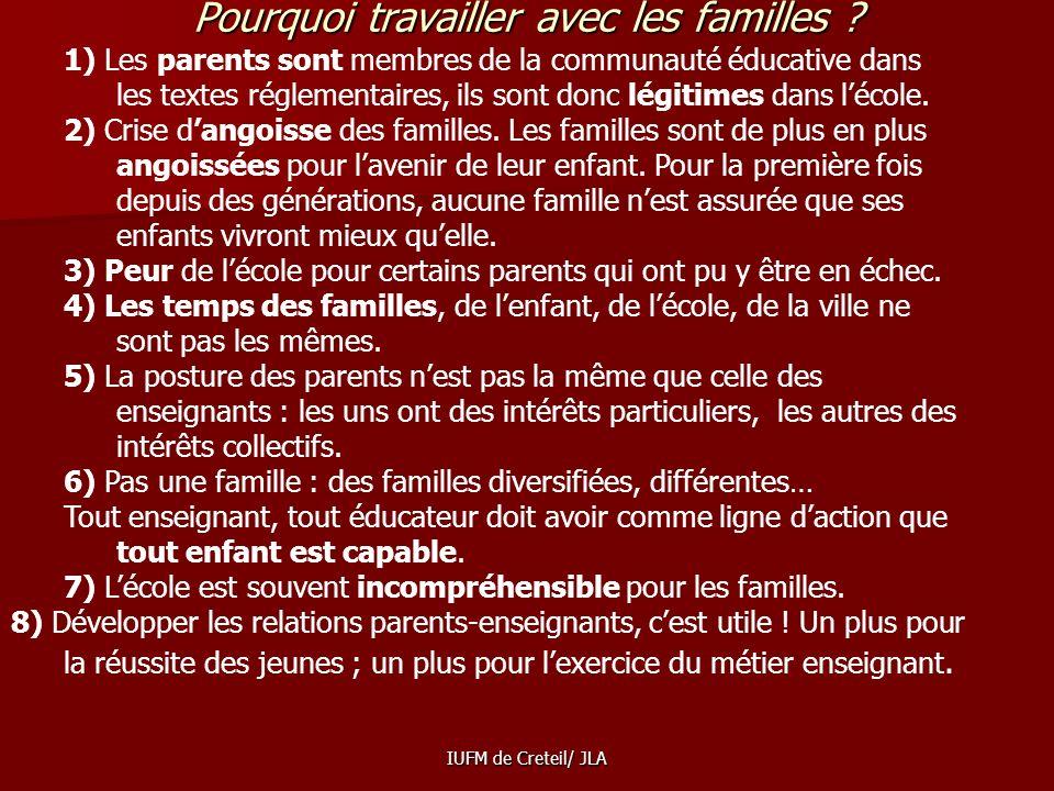Pourquoi travailler avec les familles