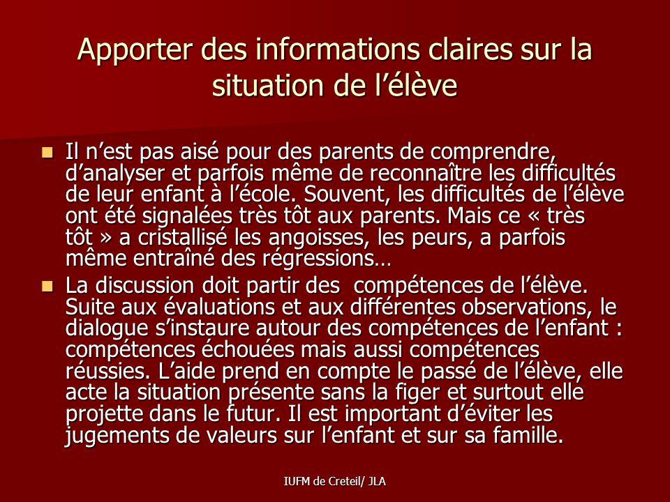 Apporter des informations claires sur la situation de l'élève