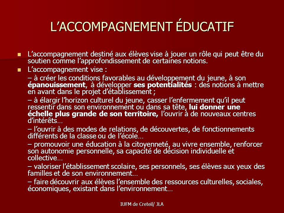 L'ACCOMPAGNEMENT ÉDUCATIF