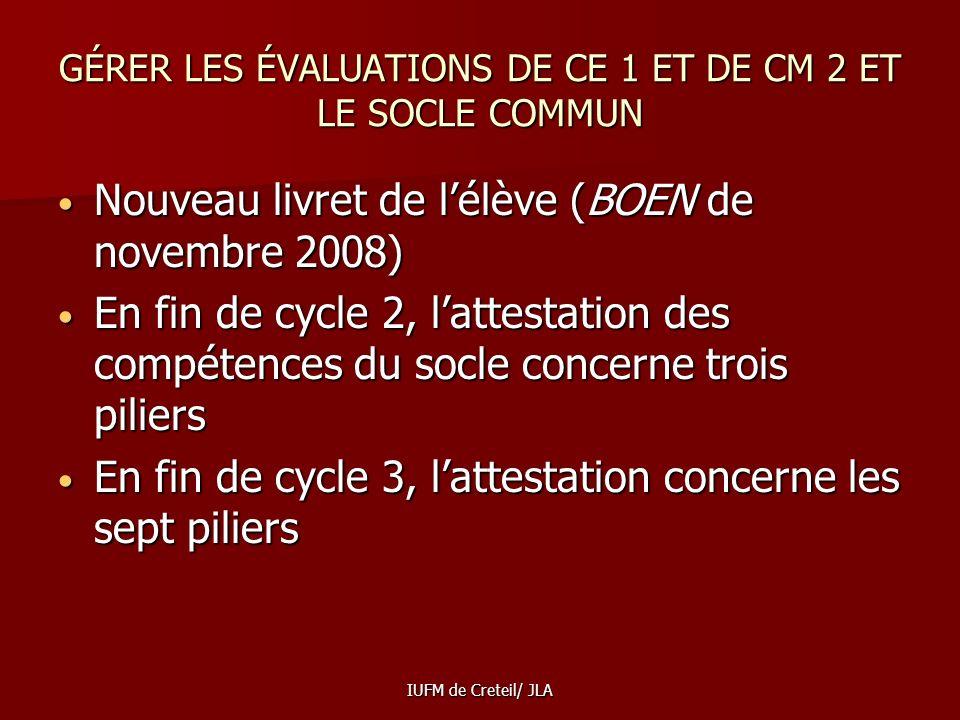 GÉRER LES ÉVALUATIONS DE CE 1 ET DE CM 2 ET LE SOCLE COMMUN