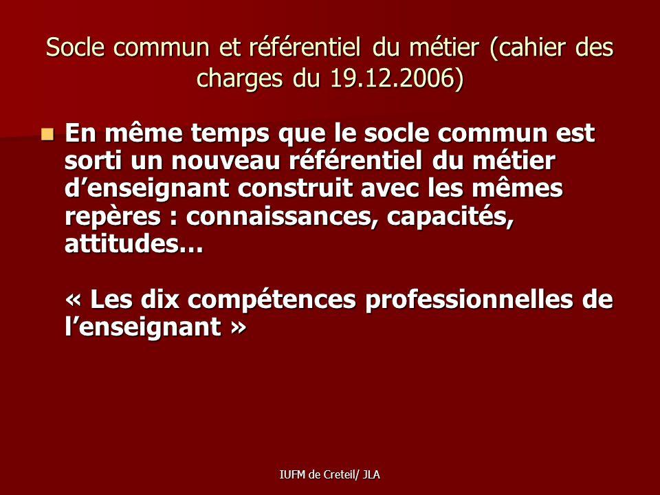 Socle commun et référentiel du métier (cahier des charges du 19. 12