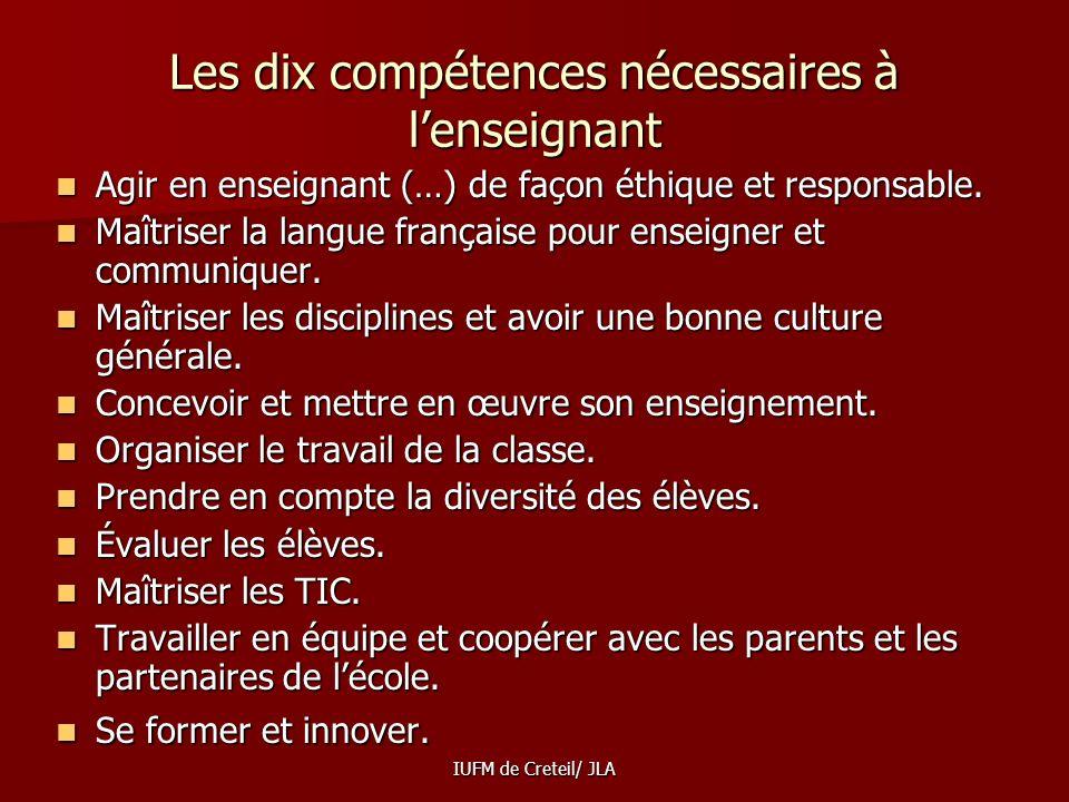 Les dix compétences nécessaires à l'enseignant