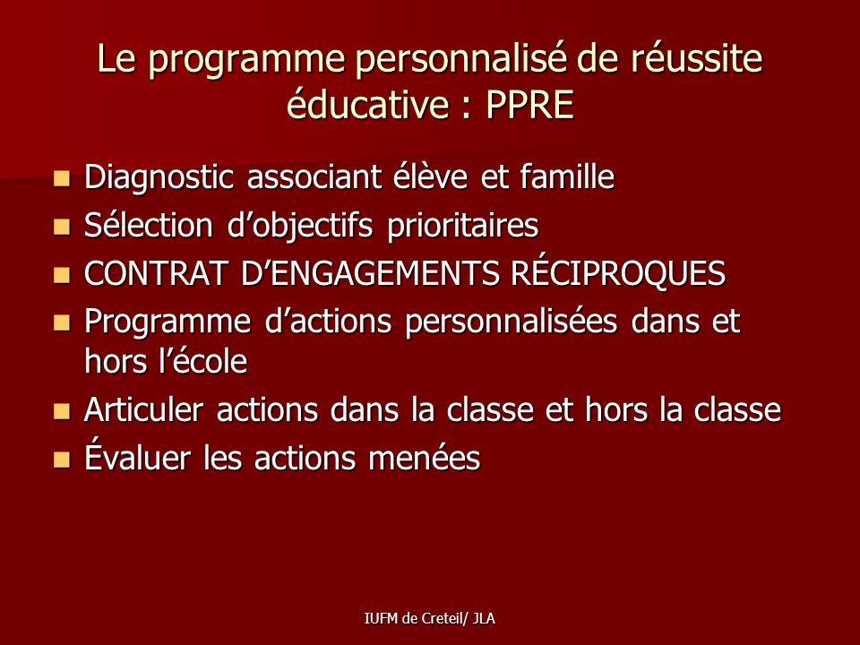 Le programme personnalisé de réussite éducative : PPRE