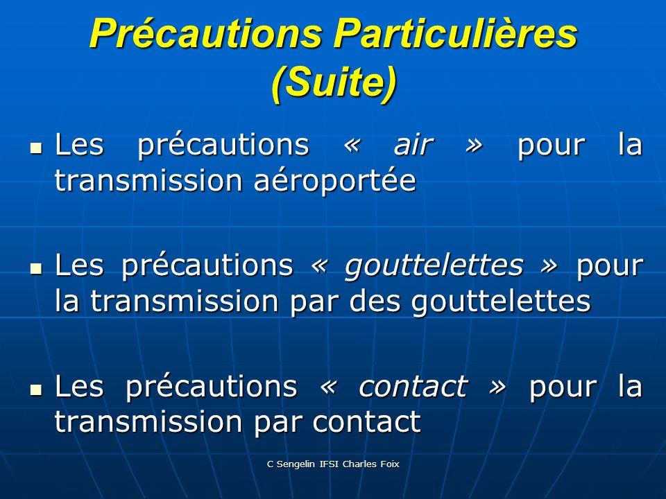 Précautions Particulières (Suite)