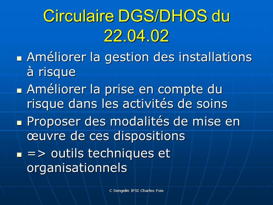 Circulaire DGS/DHOS du 22.04.02