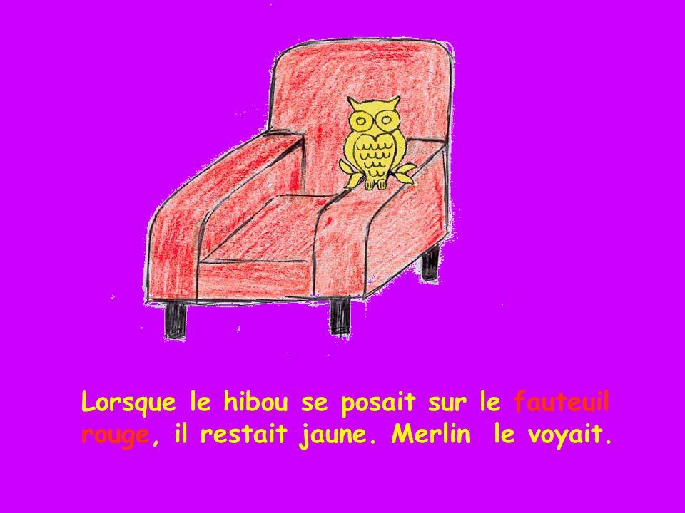 Lorsque le hibou se posait sur le fauteuil rouge, il restait jaune