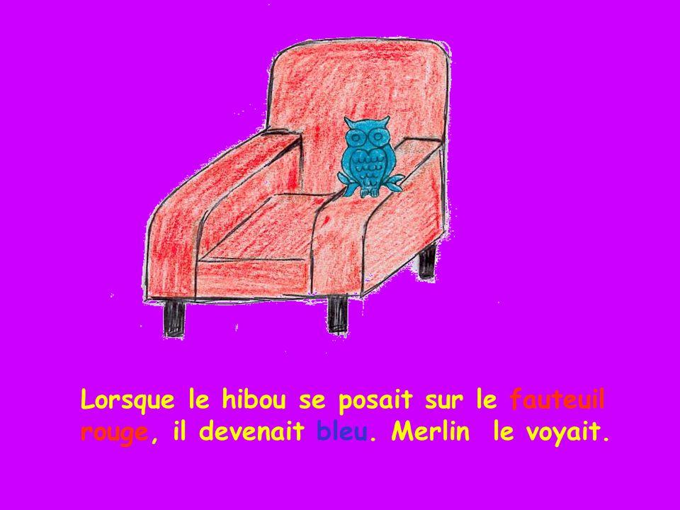 Lorsque le hibou se posait sur le fauteuil rouge, il devenait bleu