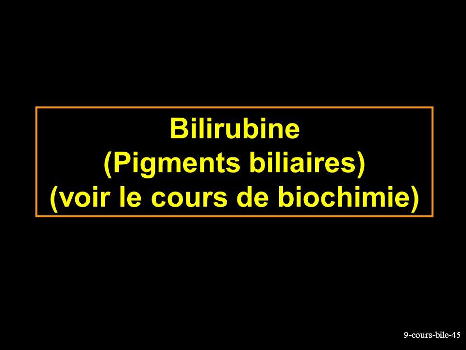 Bilirubine (Pigments biliaires) (voir le cours de biochimie)