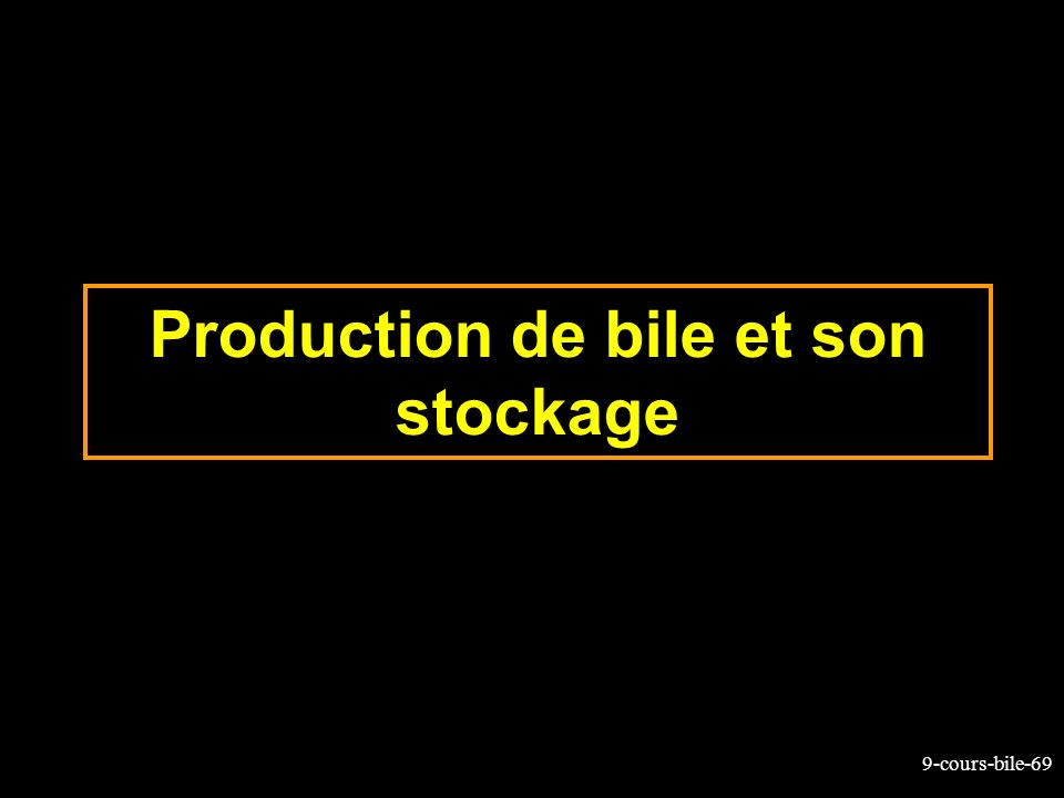 Production de bile et son stockage