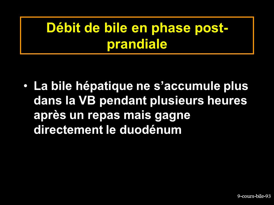 Débit de bile en phase post-prandiale