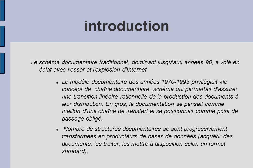 introduction Le schéma documentaire traditionnel, dominant jusqu aux années 90, a volé en éclat avec l essor et l explosion d Internet.