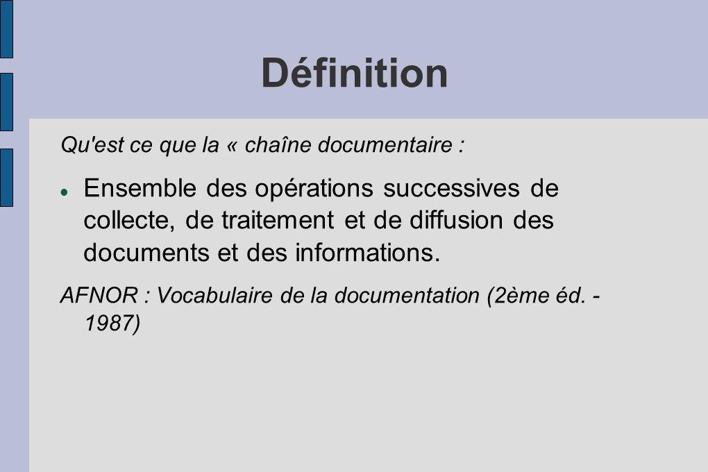 Définition Qu est ce que la « chaîne documentaire :