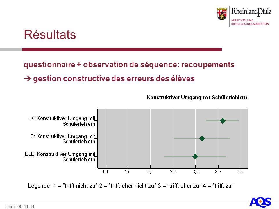 Résultats questionnaire + observation de séquence: recoupements