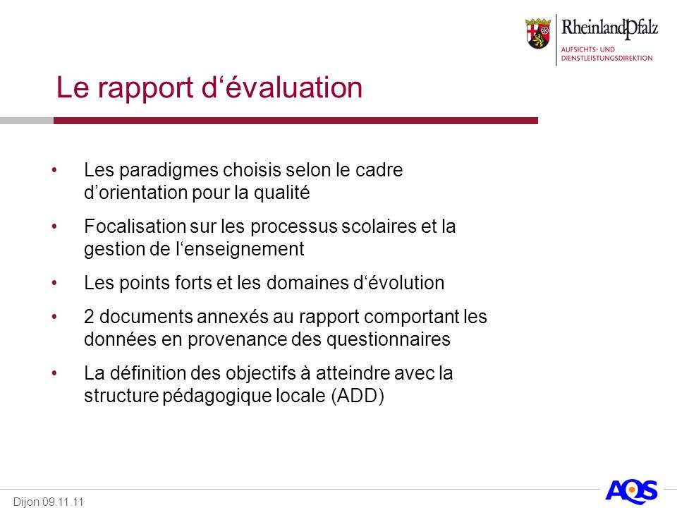 Le rapport d'évaluation