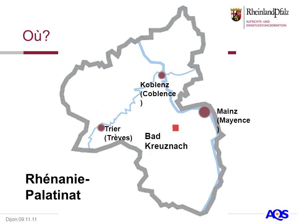 Où Rhénanie-Palatinat Bad Kreuznach Koblenz (Coblence) Mainz