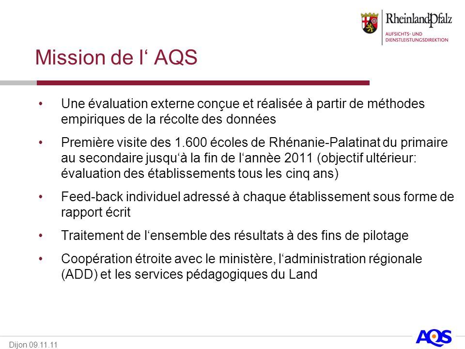 Mission de l' AQS Une évaluation externe conçue et réalisée à partir de méthodes empiriques de la récolte des données.