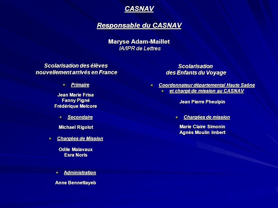 CASNAV Responsable du CASNAV Maryse Adam-Maillet IA/IPR de Lettres