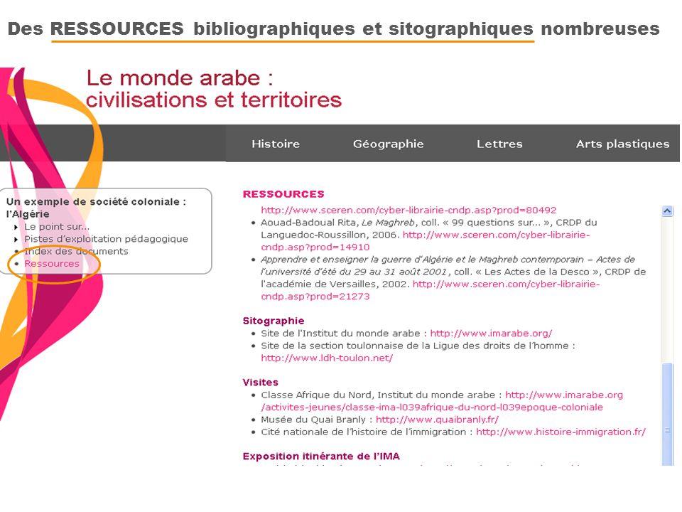 Des RESSOURCES bibliographiques et sitographiques nombreuses