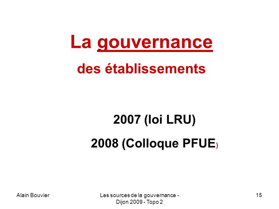 La gouvernance des établissements