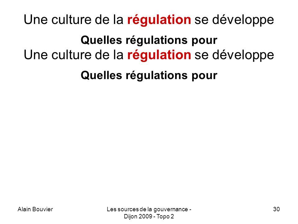 Une culture de la régulation se développe Quelles régulations pour