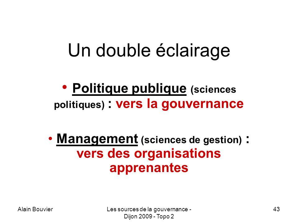Recteur Alain Bouvier HCE. Un double éclairage. Politique publique (sciences politiques) : vers la gouvernance.