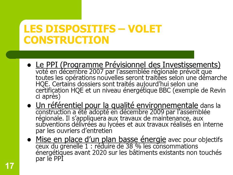 LES DISPOSITIFS – VOLET CONSTRUCTION