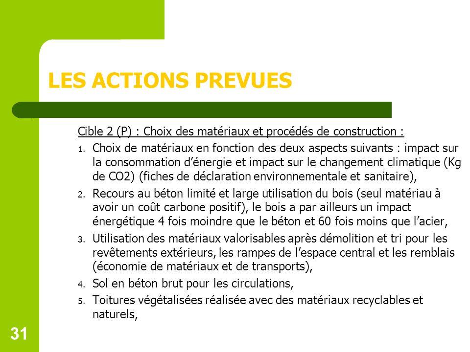 LES ACTIONS PREVUES Cible 2 (P) : Choix des matériaux et procédés de construction :
