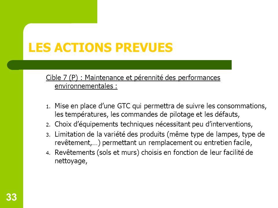 LES ACTIONS PREVUES Cible 7 (P) : Maintenance et pérennité des performances environnementales :