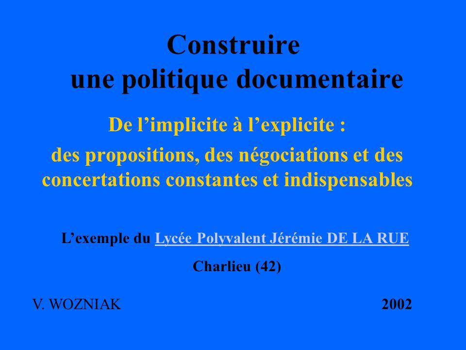 Construire une politique documentaire