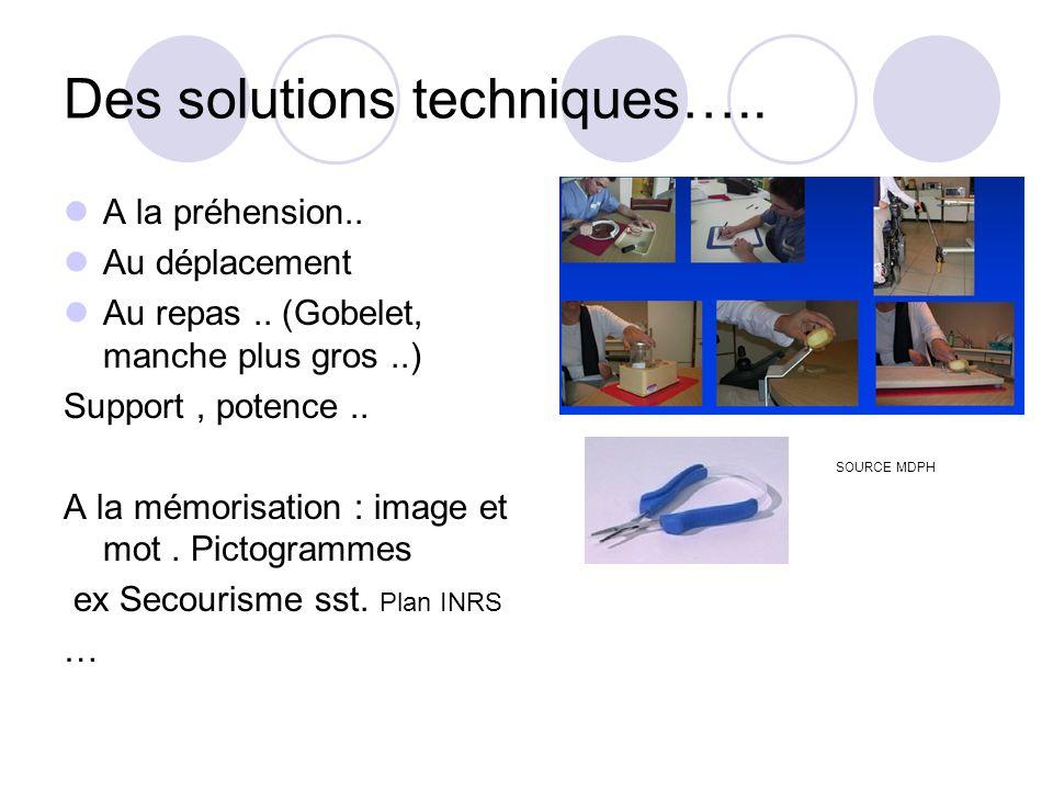 Des solutions techniques…..