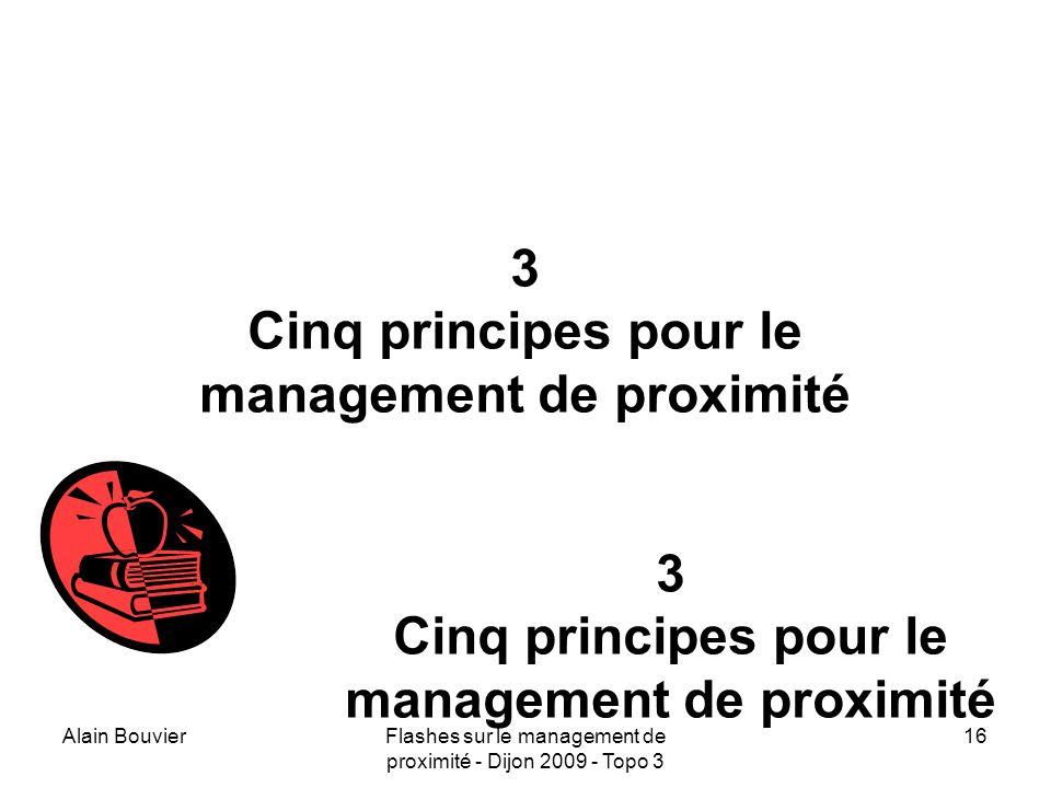 Recteur Alain Bouvier 3 Cinq principes pour le management de proximité