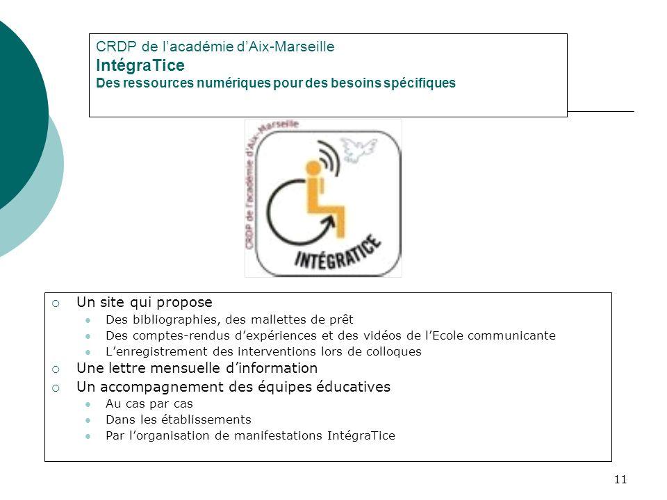 CRDP de l'académie d'Aix-Marseille IntégraTice Des ressources numériques pour des besoins spécifiques
