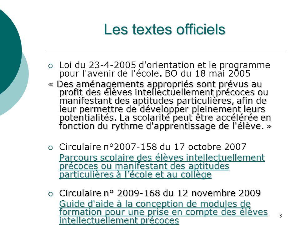 Les textes officiels Loi du 23-4-2005 d orientation et le programme pour l avenir de l école. BO du 18 mai 2005.