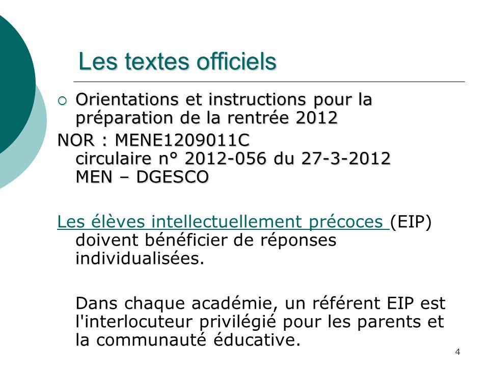 Les textes officiels Orientations et instructions pour la préparation de la rentrée 2012.