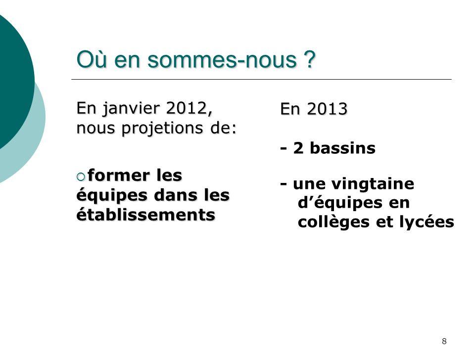 Où en sommes-nous En janvier 2012, nous projetions de: En 2013