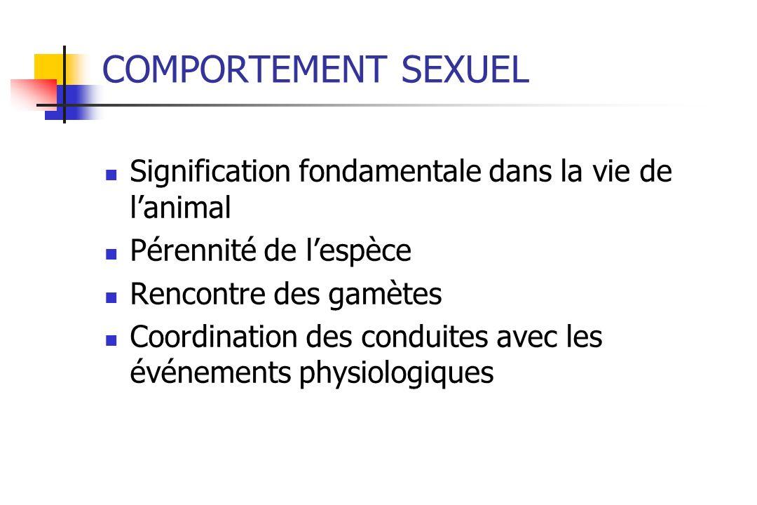 COMPORTEMENT SEXUEL Signification fondamentale dans la vie de l'animal