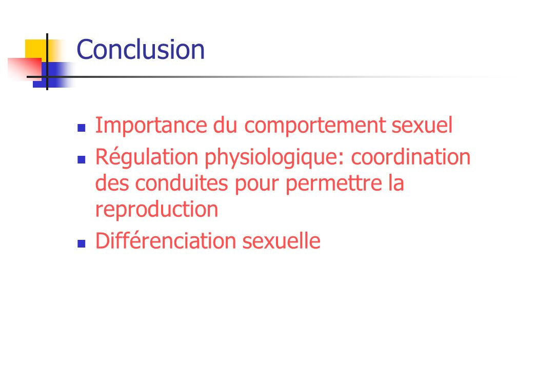 Conclusion Importance du comportement sexuel