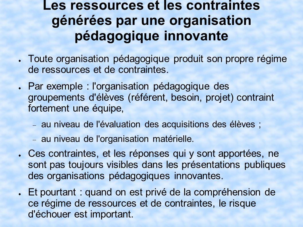 Les ressources et les contraintes générées par une organisation pédagogique innovante