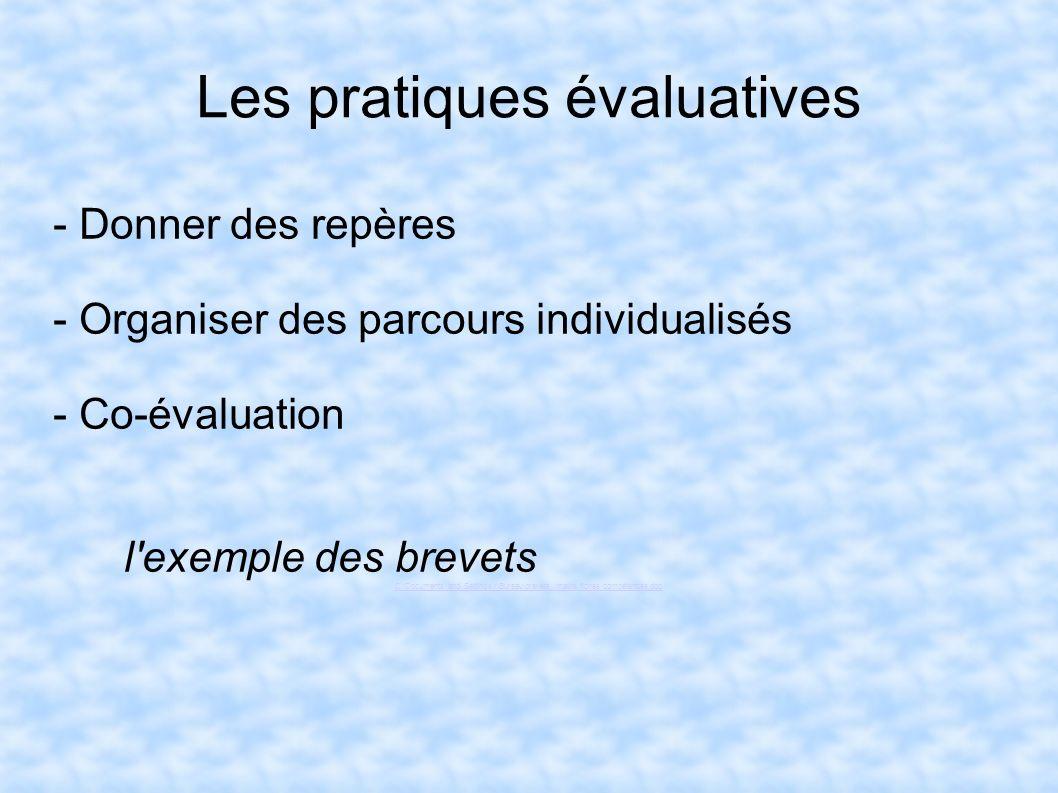 Les pratiques évaluatives