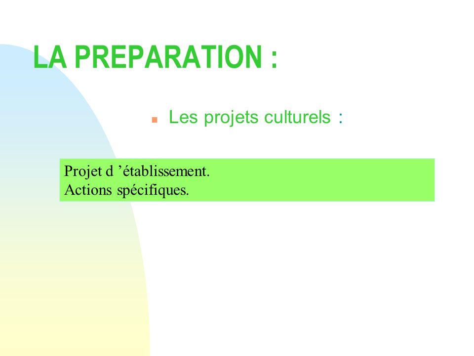 LA PREPARATION : Les projets culturels : Projet d 'établissement.