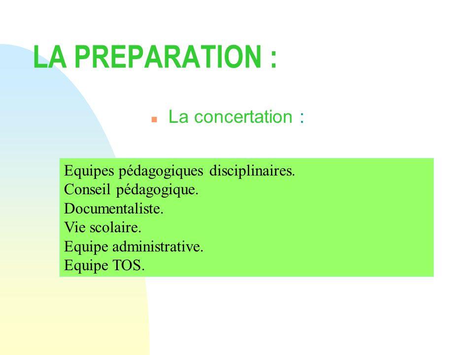LA PREPARATION : La concertation :