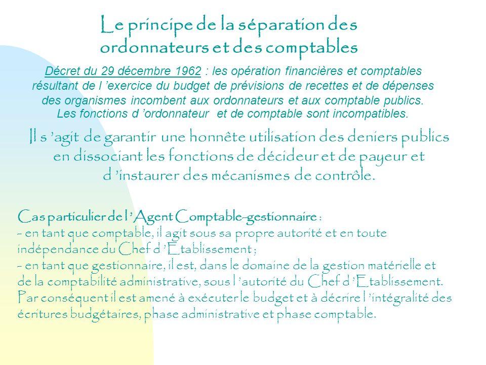 Le principe de la séparation des ordonnateurs et des comptables