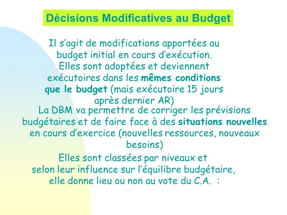 Décisions Modificatives au Budget