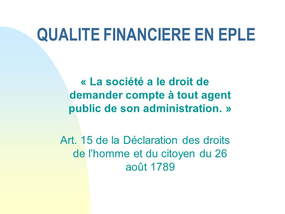 QUALITE FINANCIERE EN EPLE
