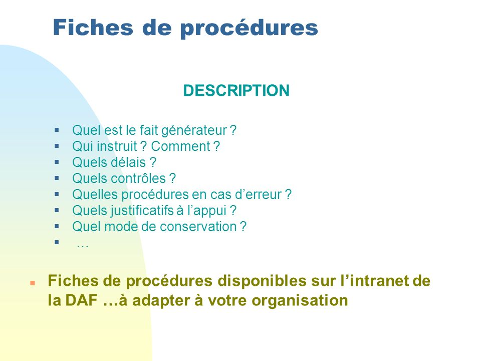 Fiches de procédures DESCRIPTION
