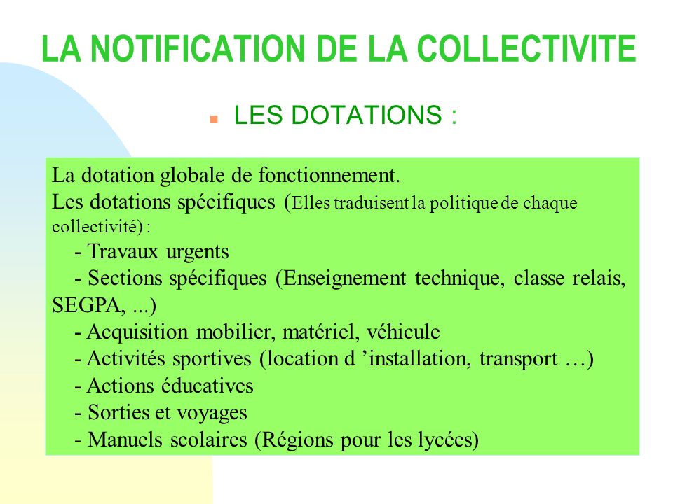 LA NOTIFICATION DE LA COLLECTIVITE